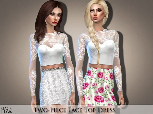 Sims 4 Two Piece Lace Top Dress by Black Lily at TSR