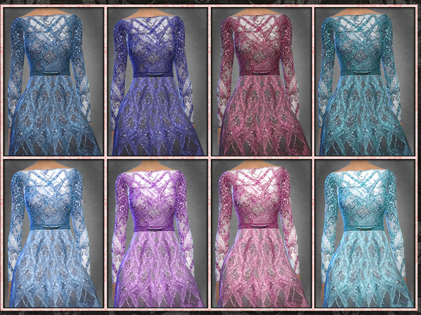 Sims 4 ZN Winter Bare Back Long Full Gown by Five5Cats at TSR