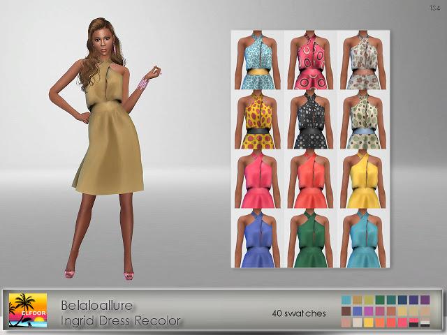 Sims 4 Belaloallure Ingrid Dress Recolor at Elfdor Sims