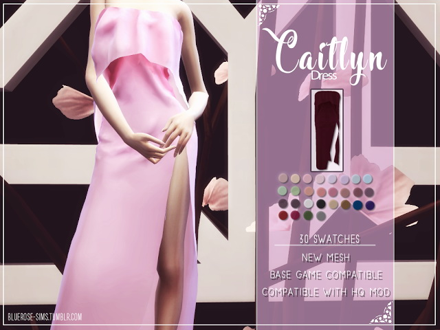 CAITLYN DRESS by Liseth Barquero at BlueRose Sims image 2392 Sims 4 Updates