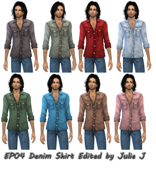 EP04 Cats & Dogs Male Denim Shirt Edited at Julietoon – Julie J image 2511 Sims 4 Updates