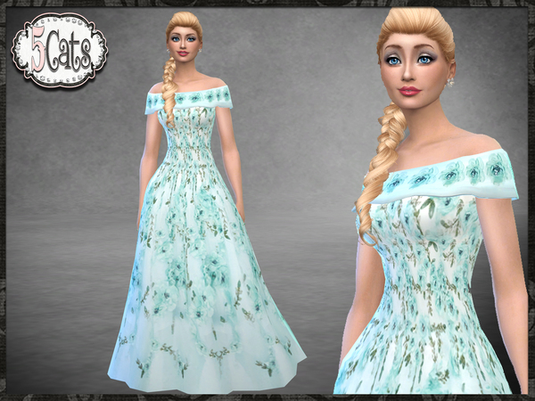 Sims 4 Floral Bridal Gown Off the Shoulder by Five5Cats at TSR