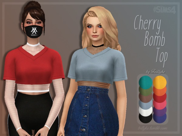 Sims 4 Cherry Bomb Top & Accessory Fishnet Top by Trillyke at TSR