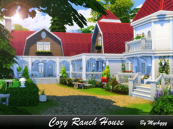 Sims 4 Cozy Ranch House by MychQQQ at TSR