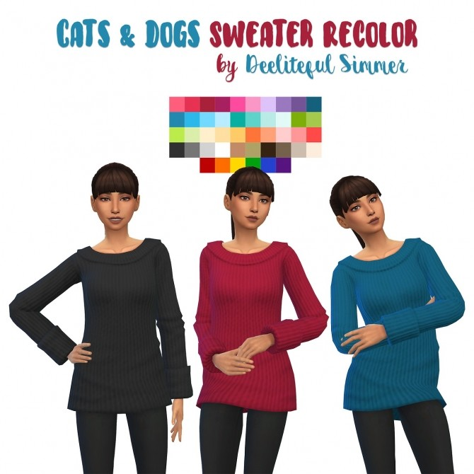Cats & Dogs sweater recolors at Deeliteful Simmer image 2871 670x670 Sims 4 Updates