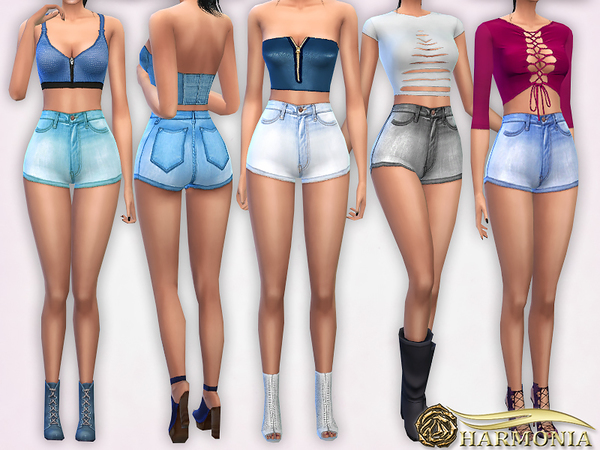 Classic High Waisted Denim Shorts by Harmonia at TSR image 288 Sims 4 Updates