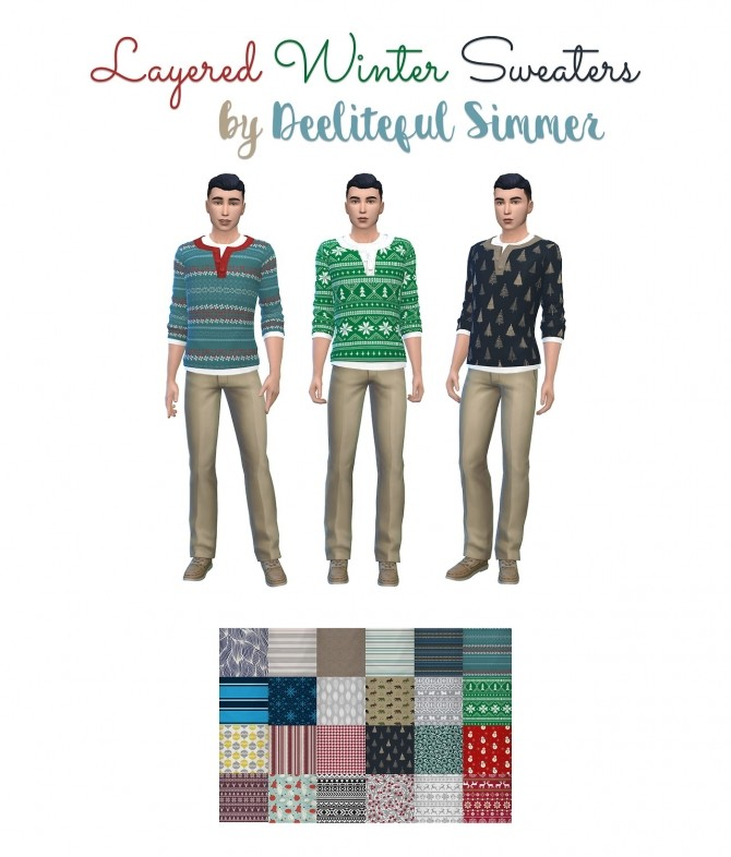 Layered winter sweaters at Deeliteful Simmer image 2881 670x786 Sims 4 Updates