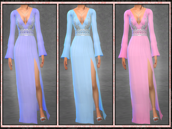 Sims 4 GH Butterfly Sleeve Side Slit Gown by Five5Cats at TSR