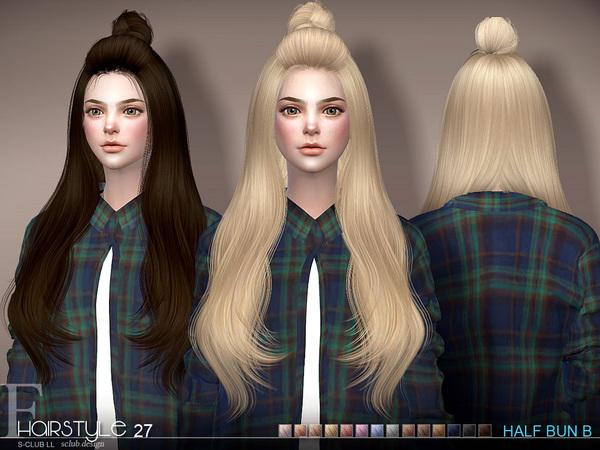 Sims 4 Hair Half Bun n27B by S Club at TSR