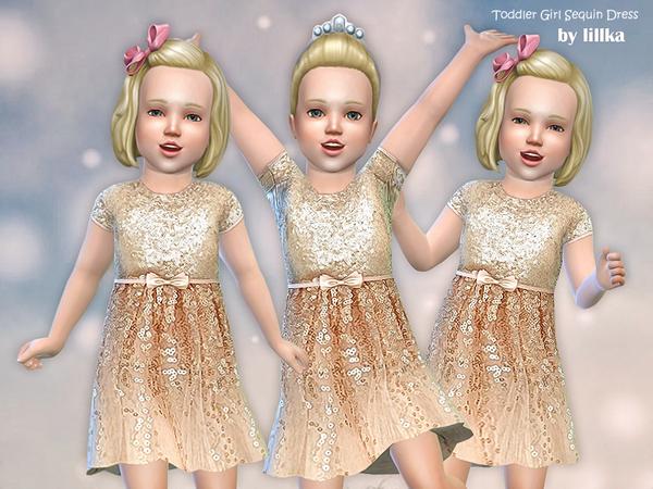 Sims 4 Girl Sequin Dress by lillka at TSR
