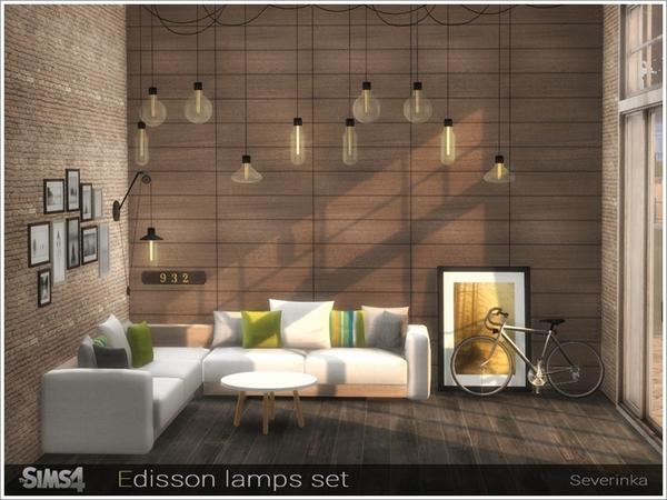 Sims 4 Edisson lamps set by Severinka at TSR