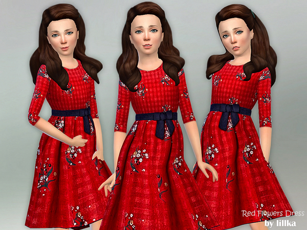 Sims 4 Red Flowers Dress by lillka at TSR