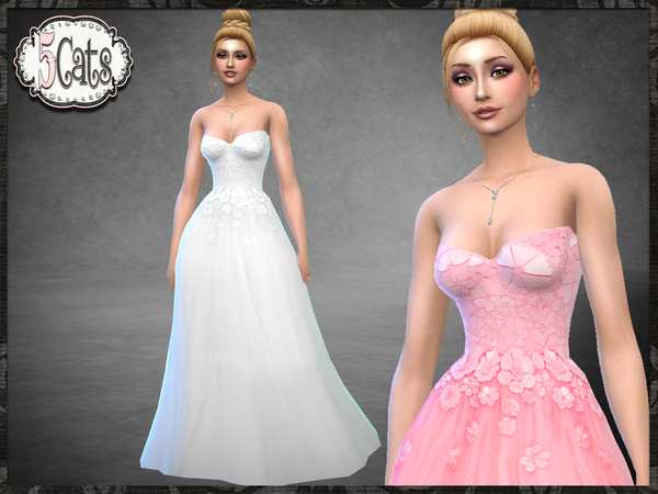 Vr Floral Encrusted Tulle Ball Gown By Five5cats At Tsr Sims 4 Updates