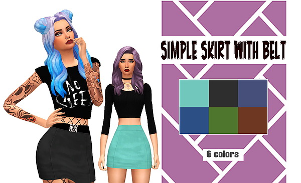 Simple Skirt with belt at Kass image 3871 Sims 4 Updates