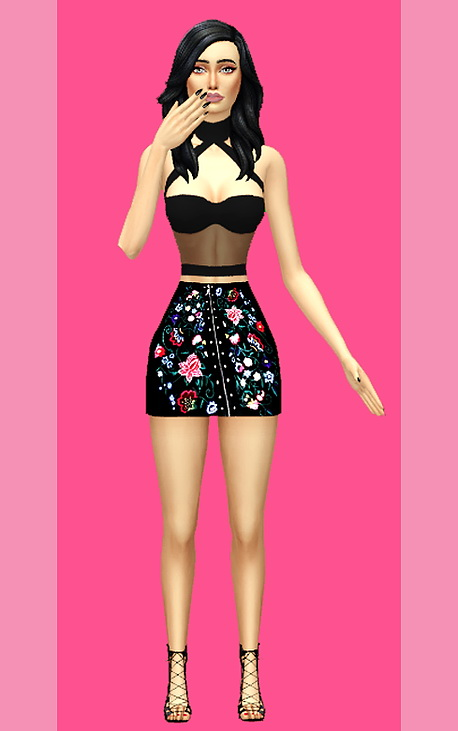 Floral Asymmetric Skirt at Kass image 3931 Sims 4 Updates