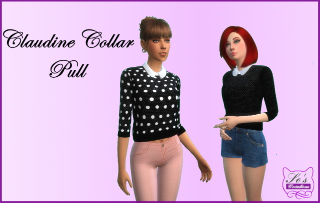 Sims 4 Claudine collar sweater by Sophie Stiquet at Les Sims4