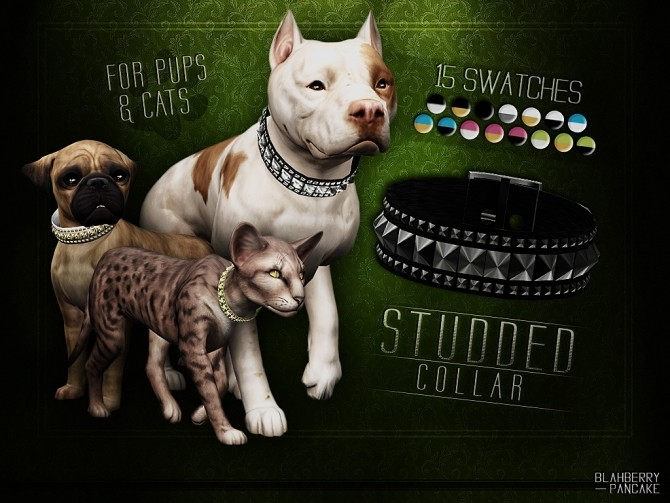 Studded collar for cats & dogs at Blahberry Pancake image 4011 670x503 Sims 4 Updates