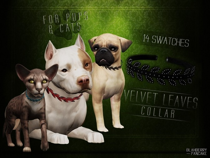 Velvet leaves collar for cats & dogs at Blahberry Pancake image 4021 670x503 Sims 4 Updates