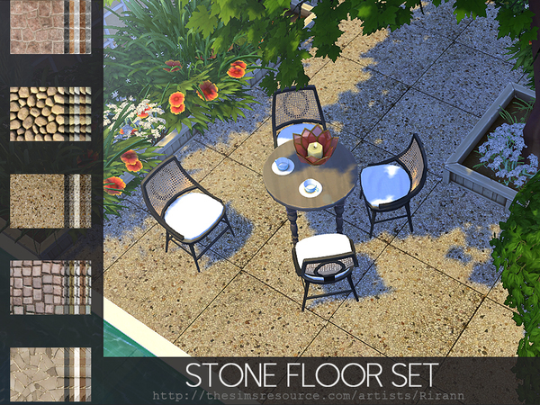 Sims 4 Stone Floor Set by Rirann at TSR