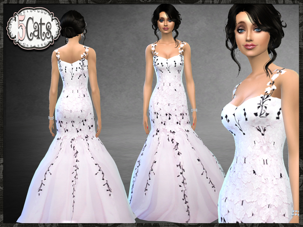 Bridal Blush Floral Mermaid Gown by Five5Cats at TSR image 4310 Sims 4 Updates