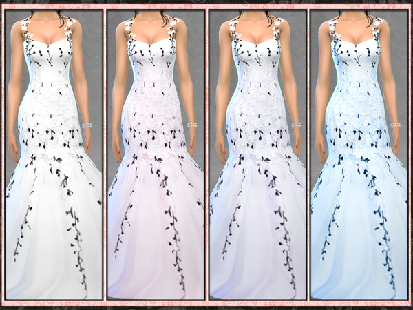 Bridal Blush Floral Mermaid Gown by Five5Cats at TSR image 4410 Sims 4 Updates