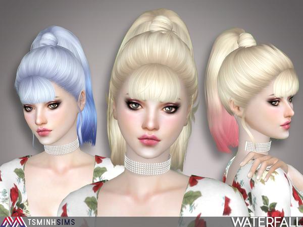 Sims 4 Waterfall Hair 47 by TsminhSims at TSR