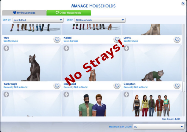 Sims 4 No Strays by Rosebud1773 at Mod The Sims