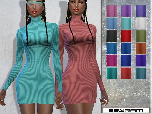 Sims 4 Cowl Neck Jumper Dress by EsyraM at TSR