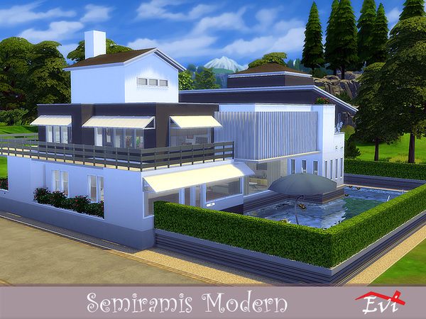 Semiramis Modern house by evi at TSR image 509 Sims 4 Updates