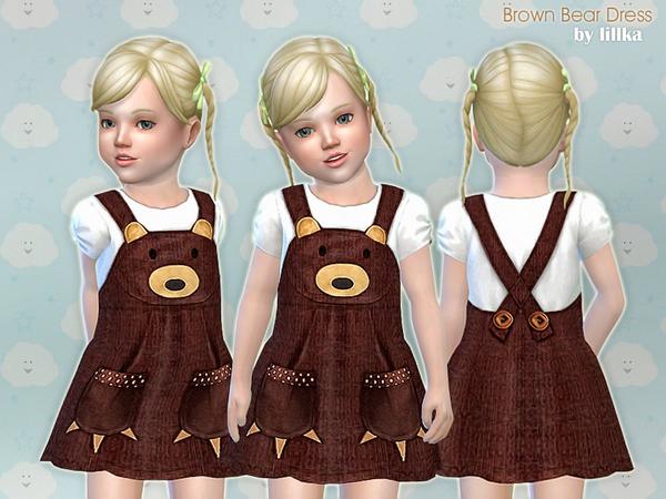 Sims 4 Brown Bear Dress by lillka at TSR