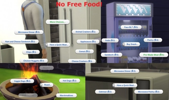 Sims 4 No Free Food by ChaosKitten666 at Mod The Sims