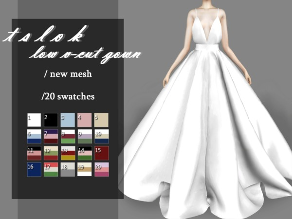 Sims 4 Low V Cut Gown by tslok at TSR