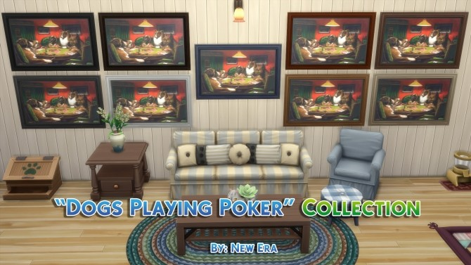 Sims 4 Dogs Playing Poker 14 Paintings Collection by New Era at Mod The Sims