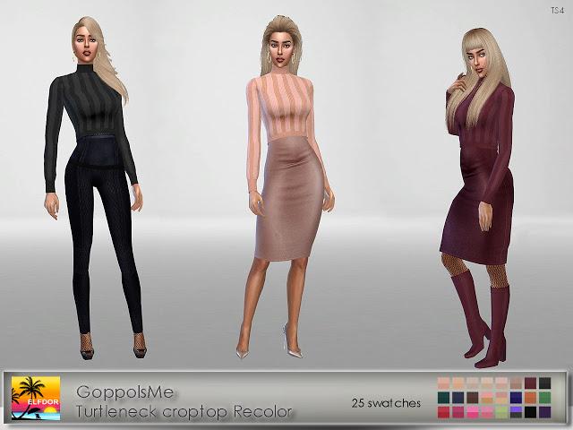 GoppolsMe Turtleneck Croptop Recolor at Elfdor Sims image 5316 Sims 4 Updates