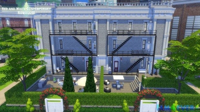 Sims 4 Red and White Contemporary Rowhouse by Iam4ever at Mod The Sims