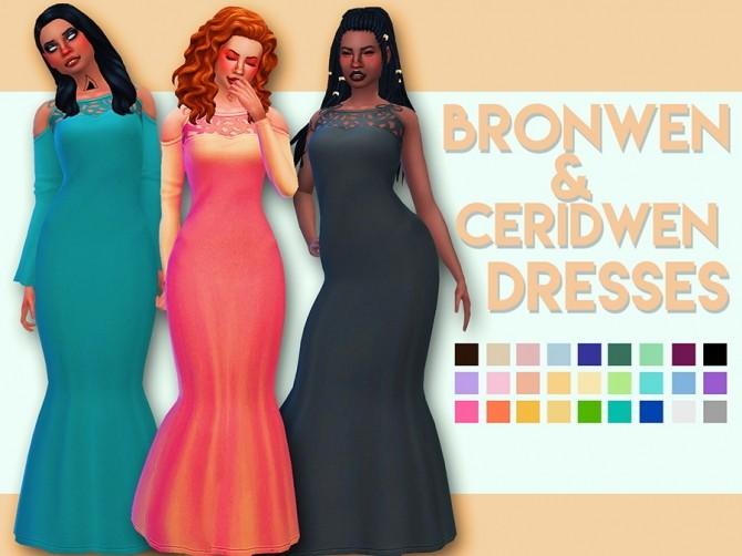 Sims 4 Bronwen & Ceridwen Dresses by Weepingsimmer at SimsWorkshop