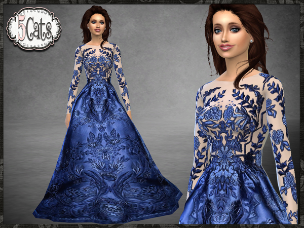 Sims 4 ZM Embroidered Floral Full Long Gown by Five5Cats at TSR