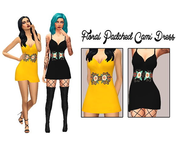 Floral Patched Cami Dress at Kass image 576 Sims 4 Updates