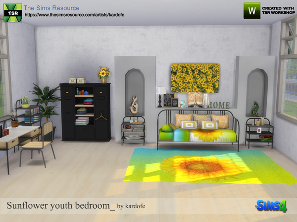 Sunflower youth bedroom by kardofe at TSR image 581 Sims 4 Updates
