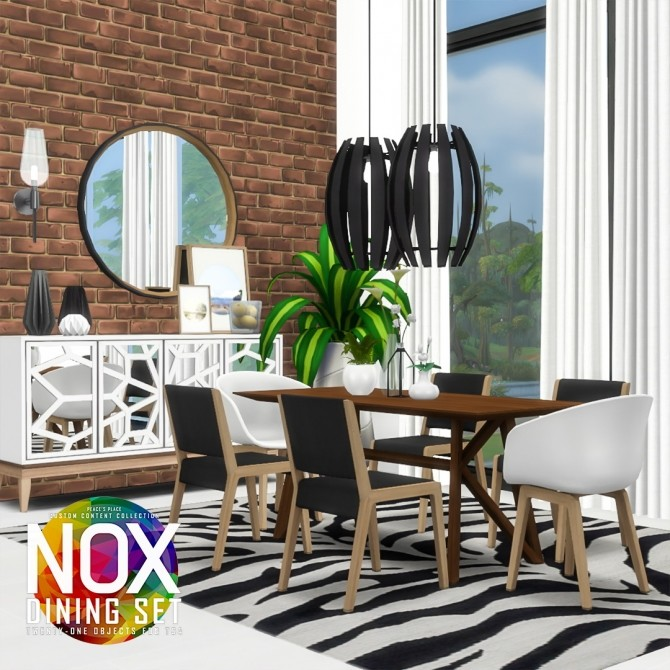 Sims 4 Nox Dining Set Redux at Simsational Designs