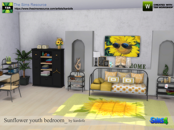 Sunflower youth bedroom by kardofe at TSR image 601 Sims 4 Updates