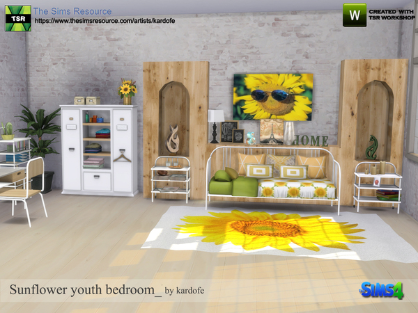 Sunflower youth bedroom by kardofe at TSR image 611 Sims 4 Updates