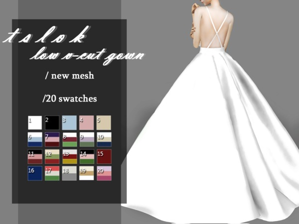 Low V Cut Gown by tslok at TSR image 620 Sims 4 Updates