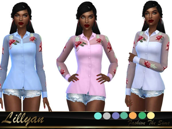 Sims 4 Blouse with lace and transparency flower by LYLLYAN at TSR
