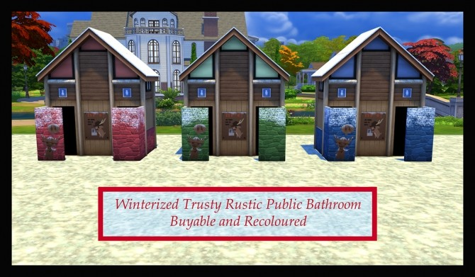 Winterized Trusty Rustic Public Bathroom by Simmiller at Mod The Sims image 691 670x391 Sims 4 Updates