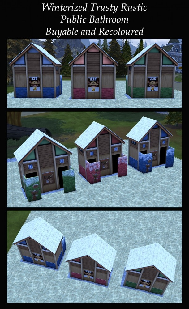 Winterized Trusty Rustic Public Bathroom by Simmiller at Mod The Sims image 701 611x1000 Sims 4 Updates