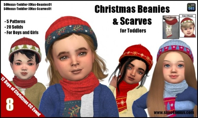 39dfb142bfb Christmas Beanies   Scarves by SamanthaGump at Sims 4 Nexus