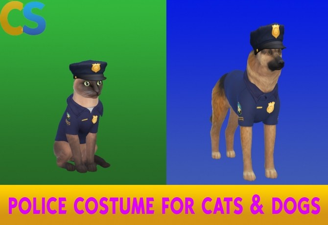 Sims 4 Police Costume for Cats and Dogs by cepzid at SimsWorkshop