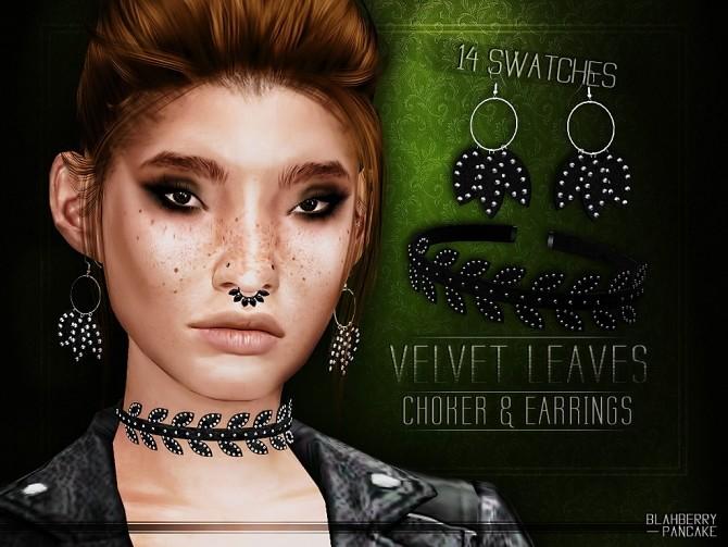 Sims 4 Velvet leaves choker and earrings at Blahberry Pancake