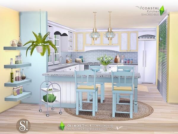 Sims 4 Coastal Kitchen by SIMcredible at TSR